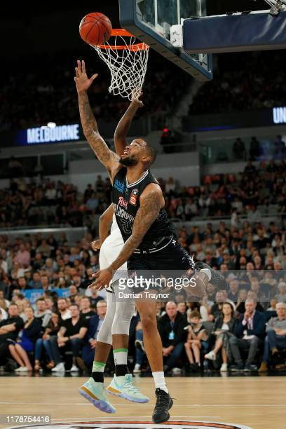 Shawn Long of United drives to the basket during the round one NBL match between Melbourne United and the South East Melbourne Phoenix at Melbourne...