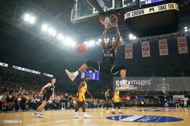 Shawn Long of United dunks during game two of the NBL Semi Final Series between Melbourne United and the Sydney Kings at Melbourne Arena on March 02,...