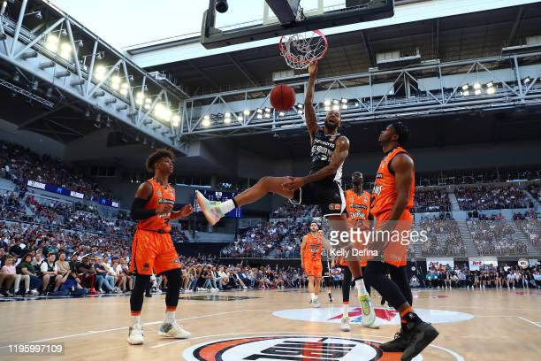 Shawn Long of United dunks during the round 13 NBL match between Melbourne United and the Cairns Taipans at Melbourne Arena on December 26, 2019 in...