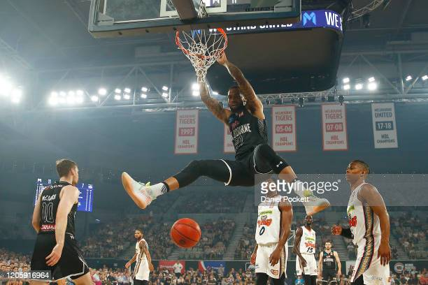 Shawn Long of United dunks during the round 20 NBL match between Melbourne United and the Cairns Taipans at Melbourne Arena on February 13, 2020 in...