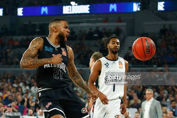 Shawn Long of United dunks the ball during the round 10 NBL match between Melbourne United and the Adelaide 36ers at Melbourne Arena on December 07,...