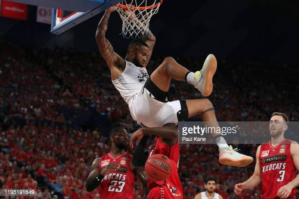 Shawn Long of United dunks the ball during the round 12 NBL match between the Perth Wildcats and Melbourne United at RAC Arena on December 21, 2019...