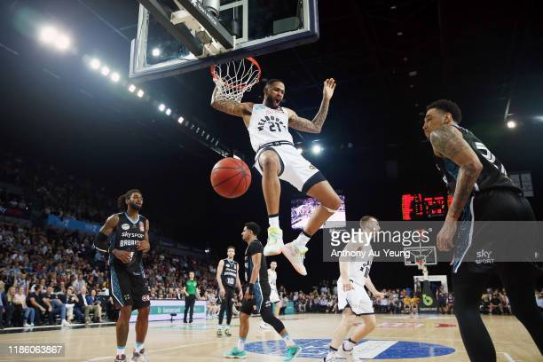 Shawn Long of United with a dunk during the round 6 NBL match between the New Zealand Breakers and Melbourne United at Spark Arena on November 07...