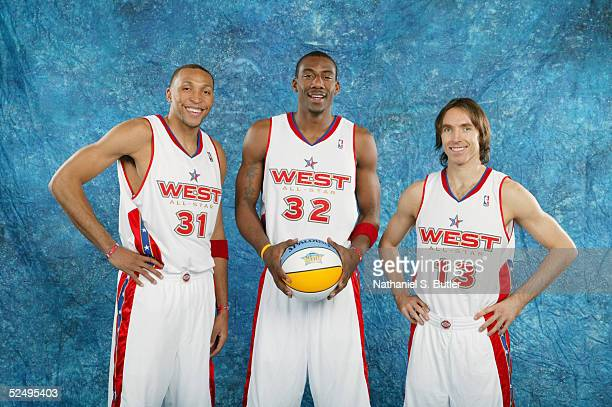 Shawn Marion Amare Stoudemire and Steve Nash of the Eastern Conference AllStars pose for a portrait prior to the 54th AllStar Game part of 2005 NBA...