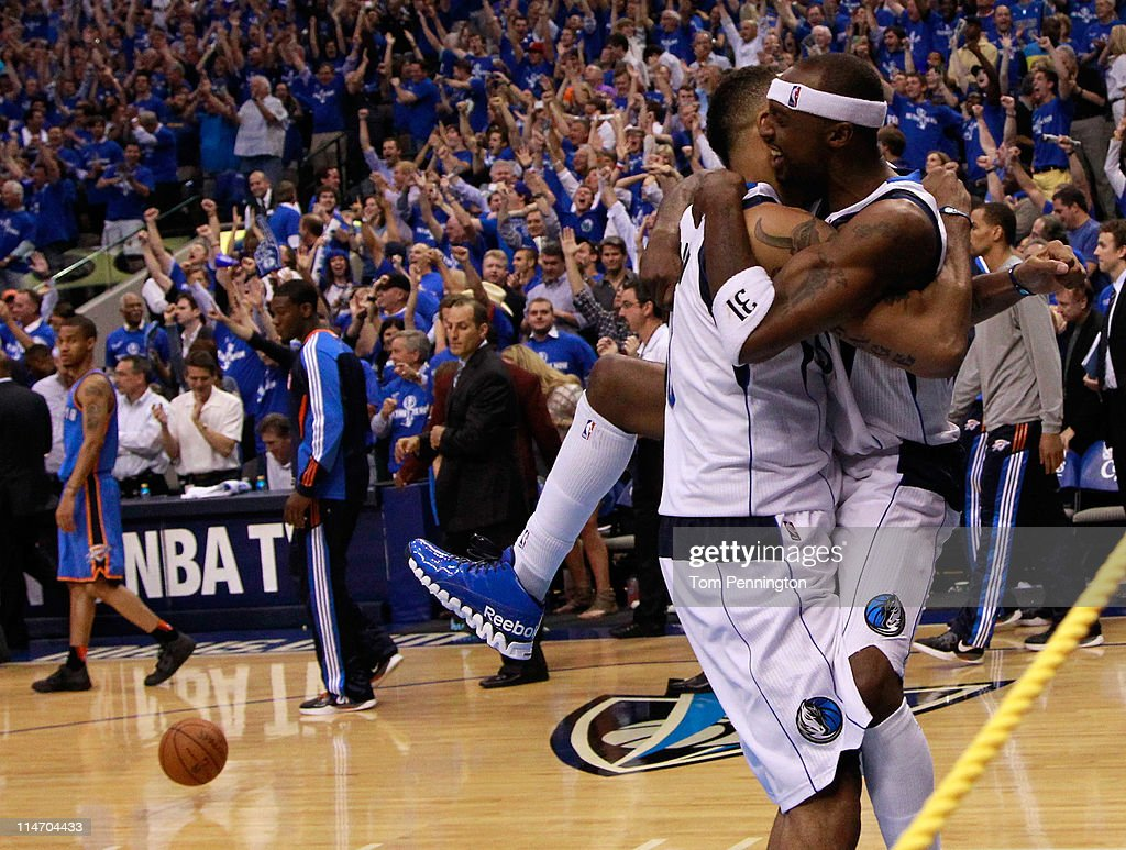 Shawn Marion #0 and Jason Terry #31 of the Dallas Mavericks celebrate as the Mavericks defeat the Oklahoma City Thunder 100-96 in Game Five of the Western Conference Finals during the 2011 NBA Playoffs at American Airlines Center on May 25, 2011 in Dallas, Texas.