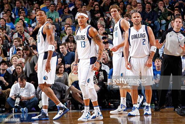 Shawn Marion Delonte West Dirk Nowitzki and Jason Kidd of the Dallas Mavericks take the court after a timeout against the Oklahoma City Thunder on...