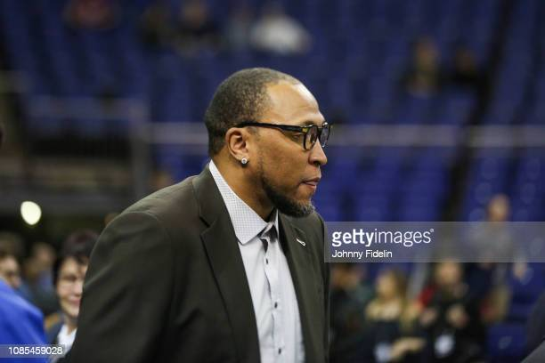 Shawn Marion former NBA player prior the NBA game against Washington Wizards and New York Knicks at The O2 Arena on January 17 2019 in London England...