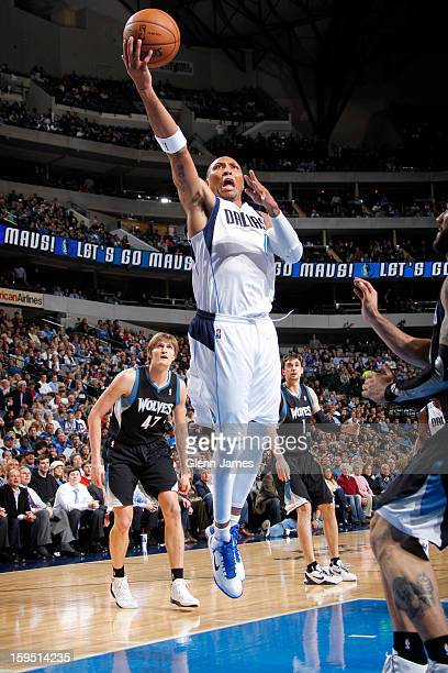 Shawn Marion of the Dallas Mavericks drives to the basket against Minnesota Timberwolves on January 14 2013 at the American Airlines Center in Dallas...