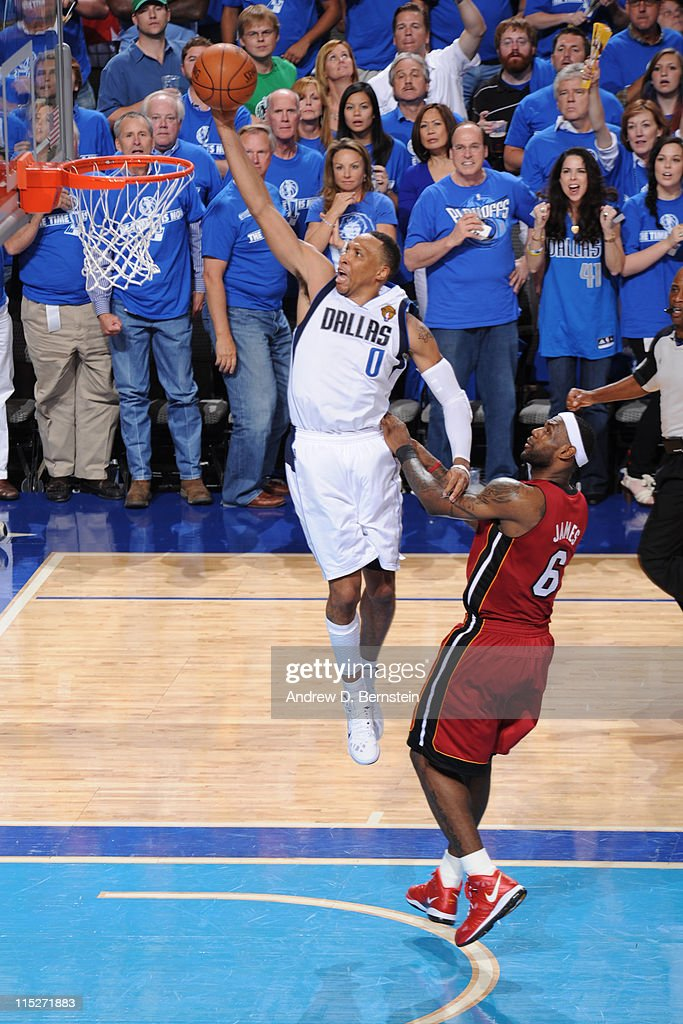 Shawn Marion #0 of the Dallas Mavericks dunks against LeBron James #6 of the Miami Heat during Game Three of the 2011 NBA Finals against the on June 5, 2011 at the American Airlines Center in Dallas, Texas.