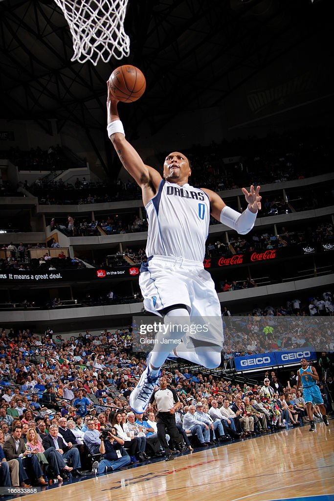 Shawn Marion #0 of the Dallas Mavericks dunks against the New Orleans Hornets on April 17, 2013 at the American Airlines Center in Dallas, Texas.