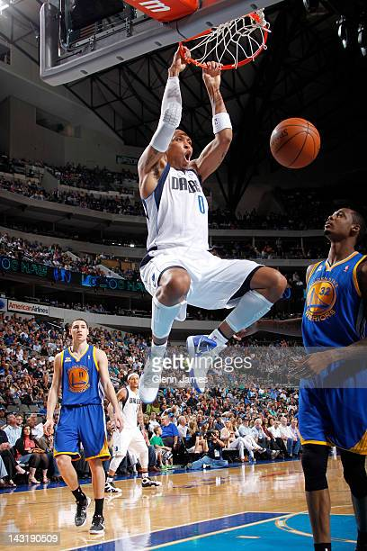 Shawn Marion of the Dallas Mavericks dunks over Mickell Gladness of the Golden State Warriors on April 20, 2012 at the American Airlines Center in...