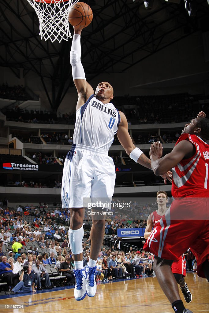 Shawn Marion #0 of the Dallas Mavericks goes for the dunk against the Houston Rockets on October 15, 2012 at the American Airlines Center in Dallas, Texas.