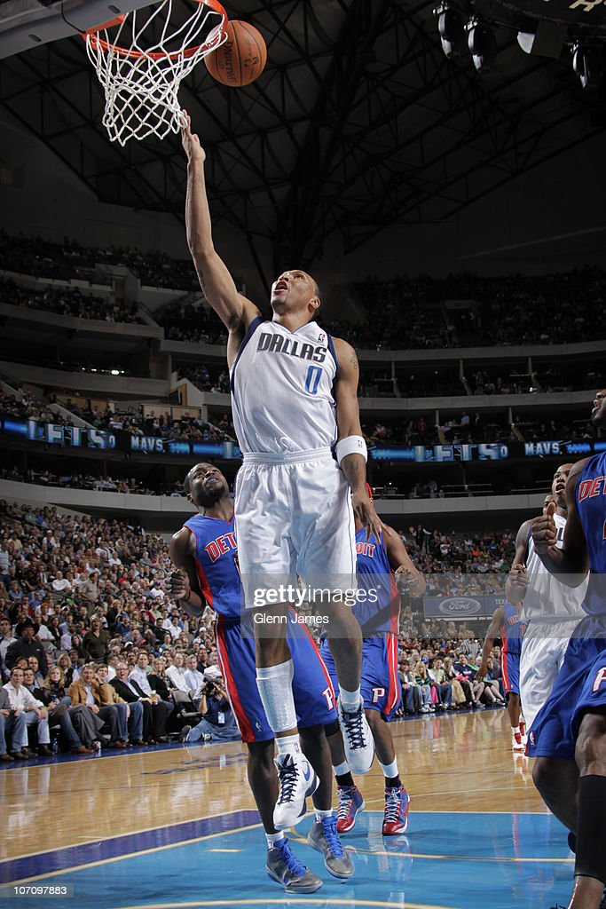 Shawn Marion #0 of the Dallas Mavericks goes in for the layup against the Detroit Pistons during a game on November 23, 2010 at the American Airlines Center in Dallas, Texas.