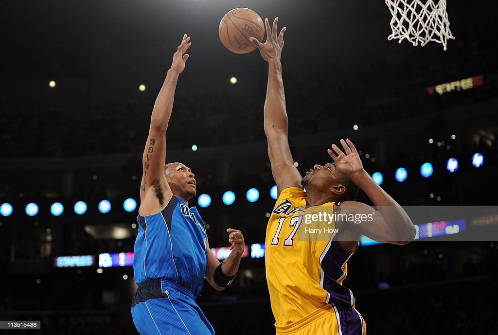 Shawn Marion #0 of the Dallas Mavericks goes up for a shot over Andrew Bynum #17 of the Los Angeles Lakers in the first quarter in Game One of the Western Conference Semifinals in the 2011 NBA Playoffs at Staples Center on May 2, 2011 in Los Angeles, California.