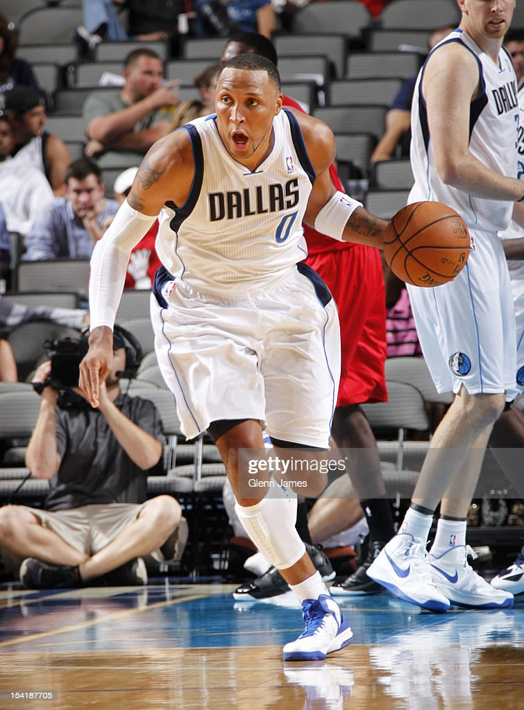 Shawn Marion #0 of the Dallas Mavericks handles the ball against the Houston Rockets on October 15, 2012 at the American Airlines Center in Dallas, Texas.