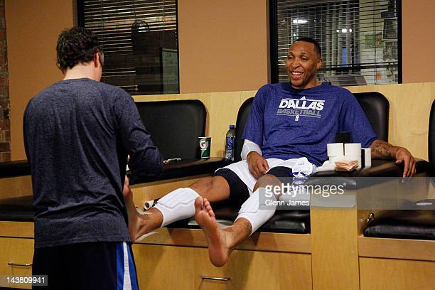 Shawn Marion of the Dallas Mavericks has his ankles taped prior to Game Three of the Western Conference Quarterfinals during the 2012 NBA Playoffs on...