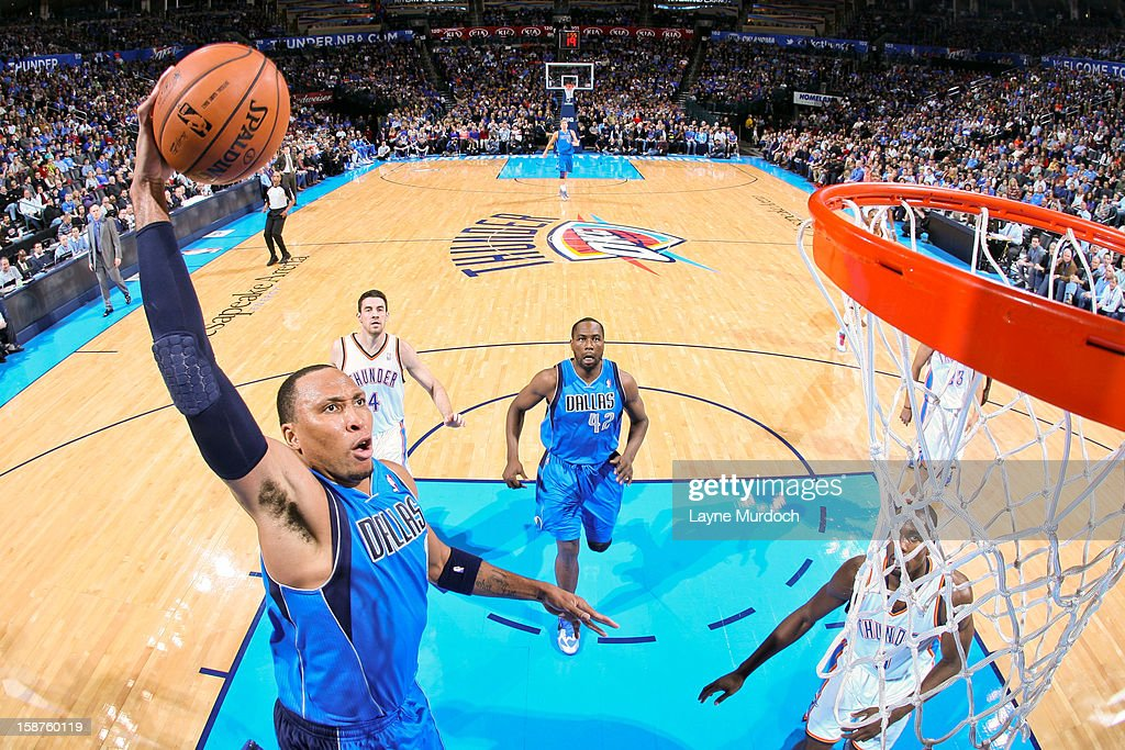 Shawn Marion #0 of the Dallas Mavericks rises for a dunk against the Oklahoma City Thunder on December 27, 2012 at the Chesapeake Energy Arena in Oklahoma City, Oklahoma.