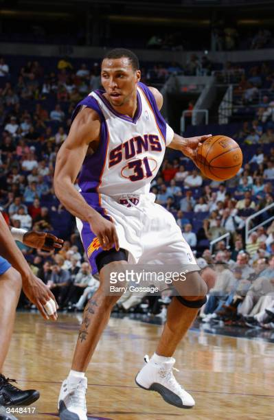 Shawn Marion of the Phoenix Suns dribbles the ball against the Washington Wizards during the game on March 29 2004 at America West Arena in Phoenix...