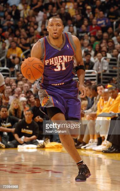 Shawn Marion of the Phoenix Suns drives the ball upcourt against the Los Angeles Lakers at Staples Center on October 31 2006 in Los Angeles...
