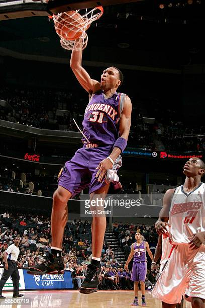 Shawn Marion of the Phoenix Suns dunks against the Charlotte Bobcats in the second half on December 30 2005 at the Charlotte Bobcats Arena in...
