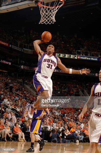 Shawn Marion of the Phoenix Suns dunks against the Los Angeles Lakers in Game Five of the Western Conference Quarterfinals during the 2007 NBA...