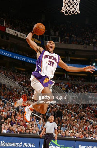 Shawn Marion of the Phoenix Suns dunks against the Utah Jazz on February 14 2005 at America West Arena in Phoenix Arizona NOTE TO USER User expressly...