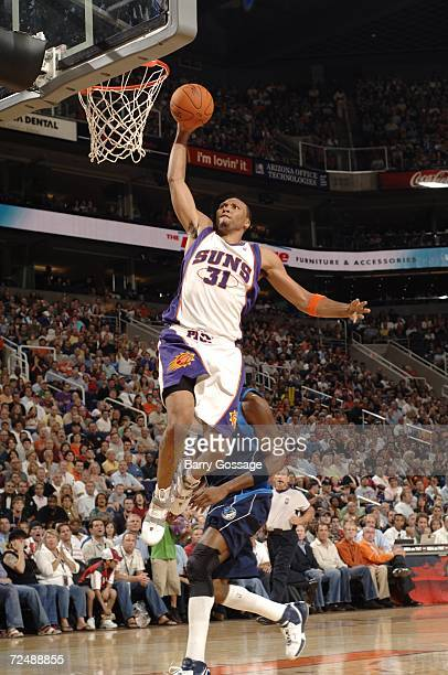 Shawn Marion of the Phoenix Suns gets the dunk against the Dallas Mavericks in an NBA game played on November 9 at U.S. Airways Center in Phoenix,...