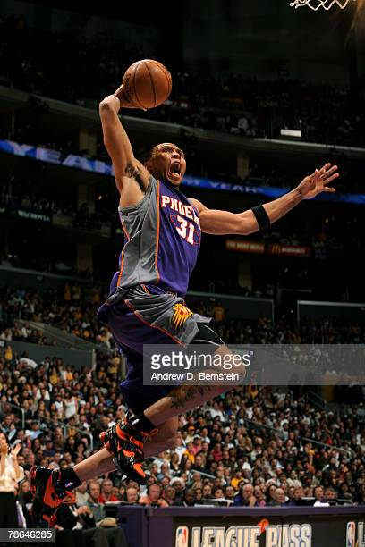 Shawn Marion of the Phoenix Suns goes up for a dunk during the fourth quarter of the game against the Los Angeles Lakers at Staples Center on...