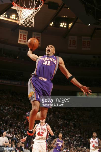 Shawn Marion of the Phoenix Suns goes up for the dunk against the New York Knicks on January 24 2007 at Madison Square Garden in New York City NOTE...
