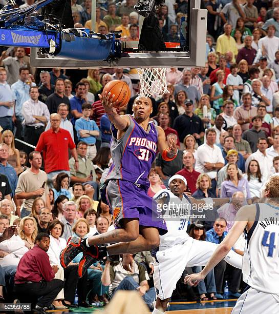 Shawn Marion of the Phoenix Suns shoots against the Dallas Mavericks in Game six of the Western Conference Semifinals during the 2005 NBA Playoffs at...