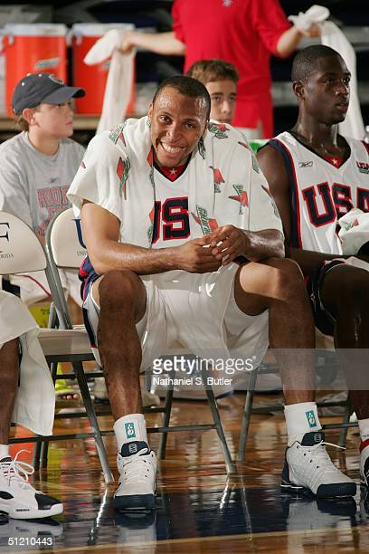 Shawn Marion of the USA Senior National Men's Team smiles during the exhibition game against Puerto Rico at University of North Florida on July 30,...