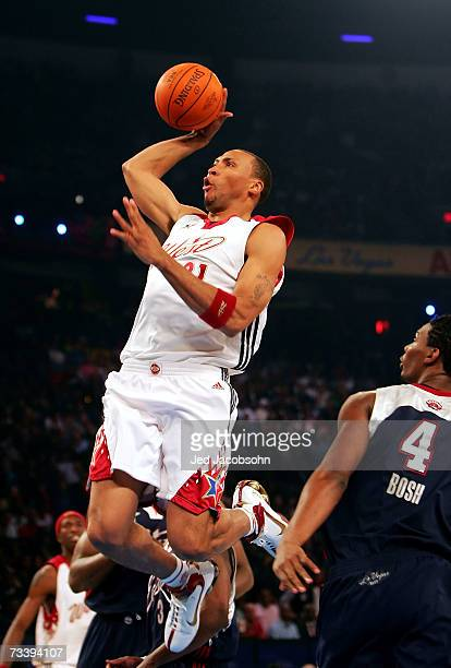 Shawn Marion of the Western Conference goes up for a shot over Chris Bosh of the Eastern Conference during the 2007 NBA AllStar Game on February 18...