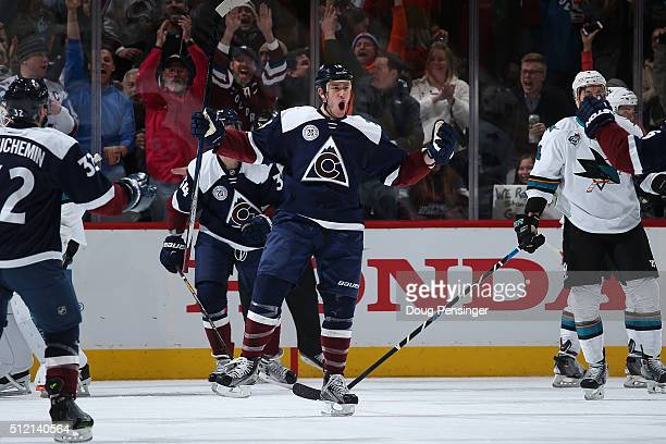 Shawn Matthias of the Colorado Avalanche celebrates his goal against the San Jose Sharks to tie the score 11 in the first period at Pepsi Center on...