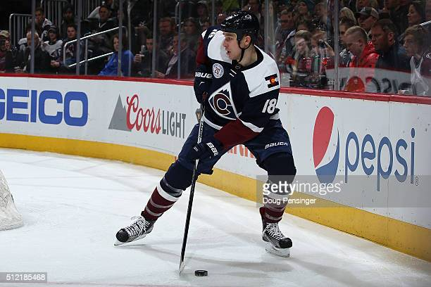 Shawn Matthias of the Colorado Avalanche controls the puck against the San Jose Sharks at Pepsi Center on February 24 2016 in Denver Colorado
