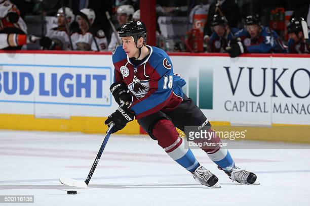 Shawn Matthias of the Colorado Avalanche controls the puck against the Anaheim Ducks at Pepsi Center on April 9 2016 in Denver Colorado the Ducks...