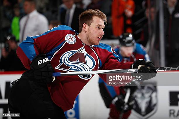 Shawn Matthias of the Colorado Avalanche warms up prior to facing the Anaheim Ducks at Pepsi Center on March 9 2016 in Denver Colorado The Avalanche...