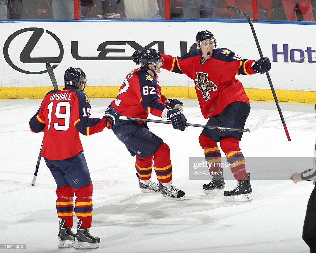 Shawn Matthias #18 of the Florida Panthers celebrates after scoring a goal late in the third period to tie the game against the New Jersey Devils at the BB&T Center on March 30, 2013 in Sunrise, Florida. The Panthers defeated the Devils 3-2 in overtime.