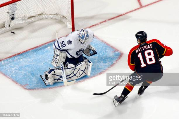 Shawn Matthias of the Florida Panthers scores a goal against the Toronto Maple Leafs at the BankAtlantic Center on November 10 2010 in Sunrise Florida