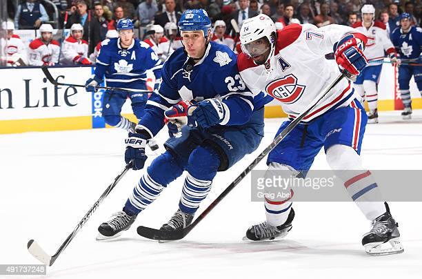 Shawn Matthias of the Toronto Maple Leafs battles with PK Subban of the Montreal Canadiens during NHL game action October 7 2015 at Air Canada Centre...