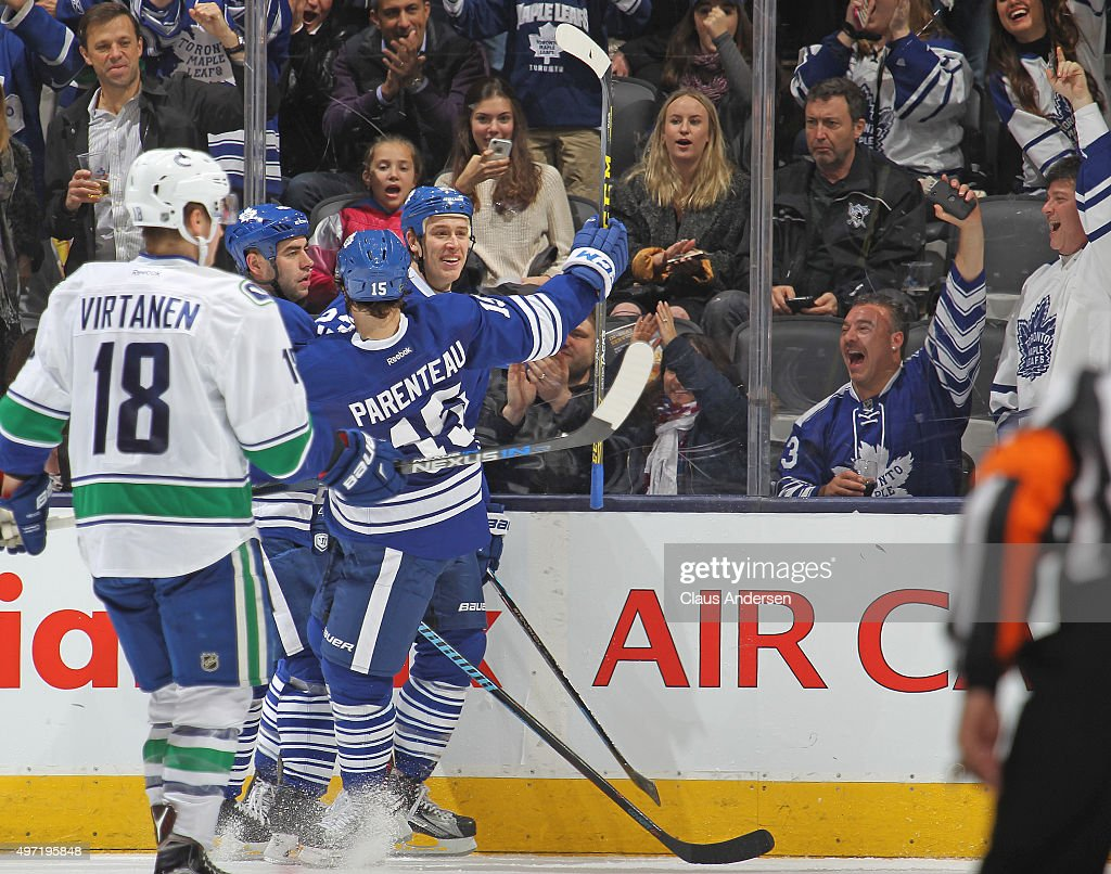 Shawn Matthias #23 of the Toronto Maple Leafs celebrates a goal against the Vancouver Canucks during an NHL game at the Air Canada Centre on November 14, 2015 in Toronto, Ontario, Canada. The Leafs defeated the Canucks 4-2.