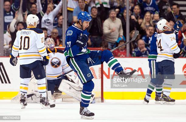 Shawn Matthias of the Vancouver Canucks celebrates after scoring a goal against the Buffalo Sabres during the first period in NHL action on March 23,...