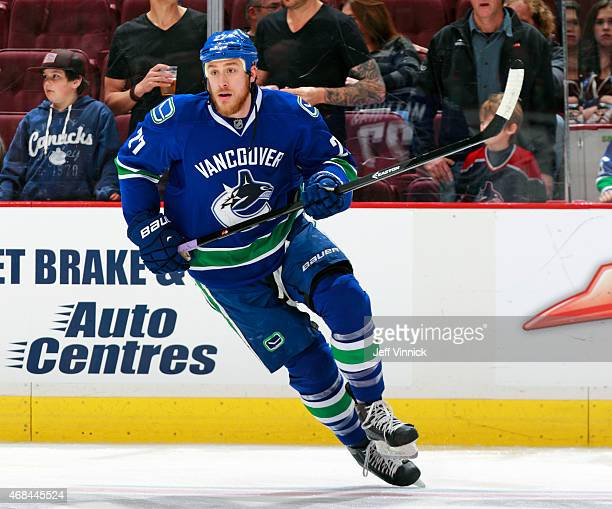 Shawn Matthias of the Vancouver Canucks skates up ice during their NHL game against the Toronto Maple Leafs at Rogers Arena March 14 2015 in...