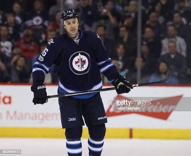 Shawn Matthias of the Winnipeg Jets during NHL action against the Calgary Flames on March 11 2017 at the MTS Centre in Winnipeg Manitoba
