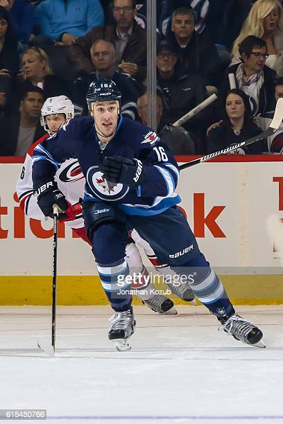Shawn Matthias of the Winnipeg Jets follows the play down the ice during first period action against the Carolina Hurricanes at the MTS Centre on...