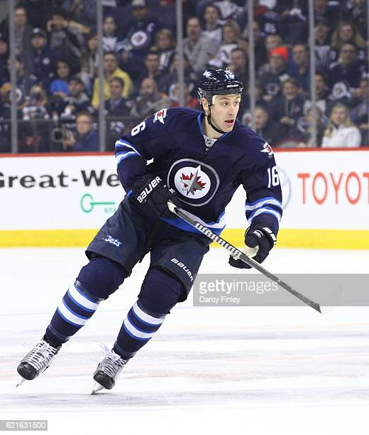 Shawn Matthias of the Winnipeg Jets follows the play down the ice during first period action against the Washington Capitals at the MTS Centre on...