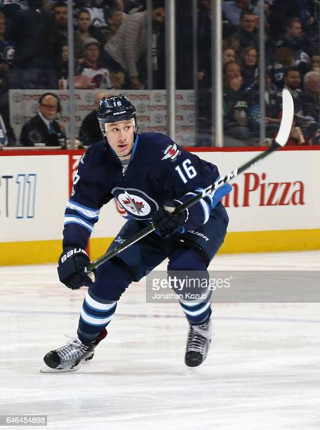 Shawn Matthias of the Winnipeg Jets follows the play down the ice during second period action against the Minnesota Wild at the MTS Centre on...