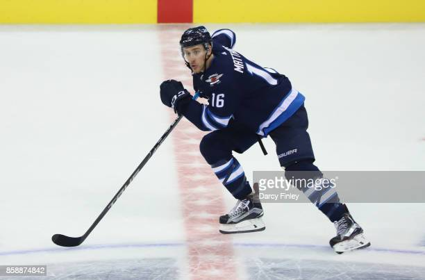 Shawn Matthias of the Winnipeg Jets follows the play down the ice during second period action against the Toronto Maple Leafs at the Bell MTS Place...
