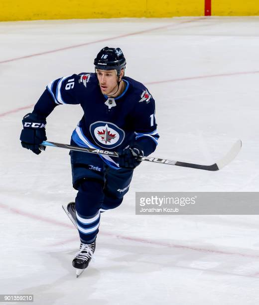 Shawn Matthias of the Winnipeg Jets follows the play up the ice during second period action against the New York Islanders at the Bell MTS Place on...