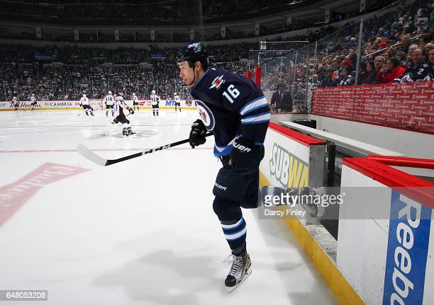 Shawn Matthias of the Winnipeg Jets hits the ice prior to puck drop against the Colorado Avalanche at the MTS Centre on March 4 2017 in Winnipeg...