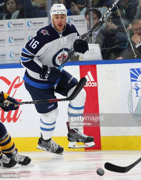 Shawn Matthias of the Winnipeg Jets in play against the Buffalo Sabres at the KeyBank Center on January 9 2018 in Buffalo New York The Jets beat the...